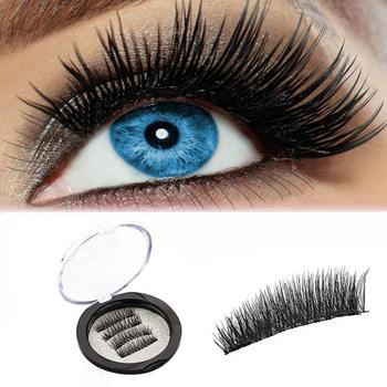 1 Pair 4Pcs Double Magnetic Eye Lashes Ultra-thin 0.2mm 3D 3d magnetic false eyelashes natural Lahses 2U1211