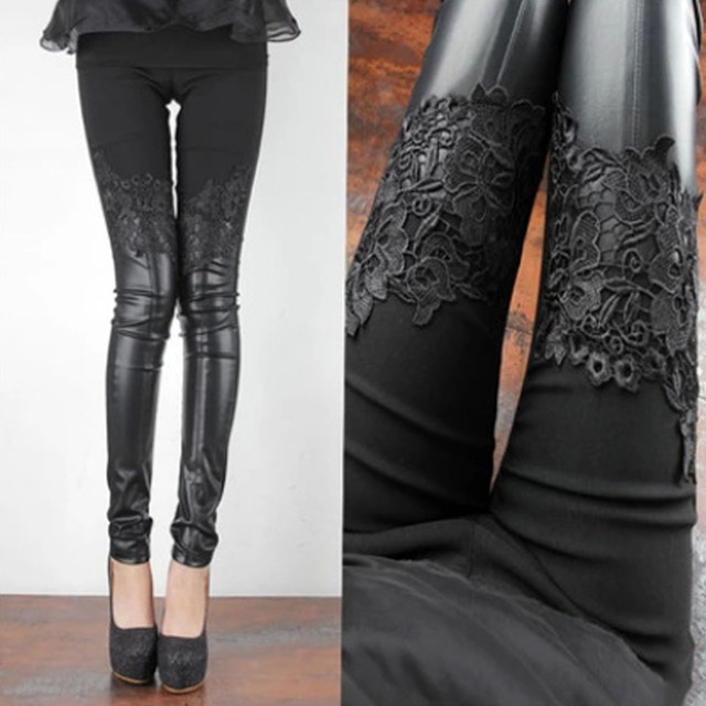 2017 Fashion Lace PU Leather Patchwork Pencil Pants Women Skinny Solid Leggings Casual Trousers Spring Wear H9