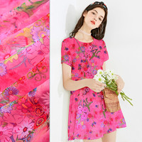 Dark Pink Printed Silk Fabrics In The New Silk Fabrics Bright Printing Mulberry Silk Fabrics Silk