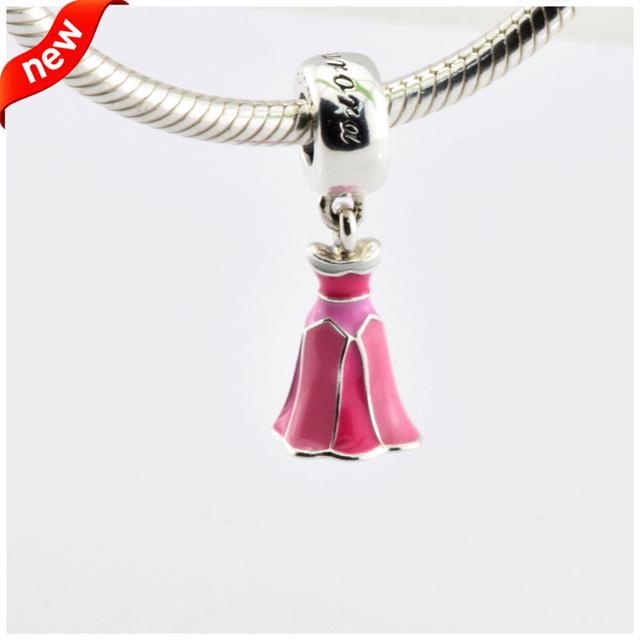 Serve para pandora pulseiras de aurora vestido grânulos de prata 100% 925 prata esterlina encantos jóias diy atacado 08345