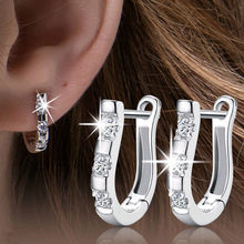 Nice Clear Crystal 925 Sterling Silver Plated Hoop Earrings Women Jewelry horseshoe Accessories Drop Free brincos 925 silver plated crystal earrings pair