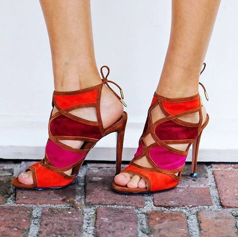 ФОТО Fashion Trend Summer Wedding Party Dress Shoes Women High Heel Sandals Lace Up Ankle Strap Gladiator Sandals Wholesale Dropship