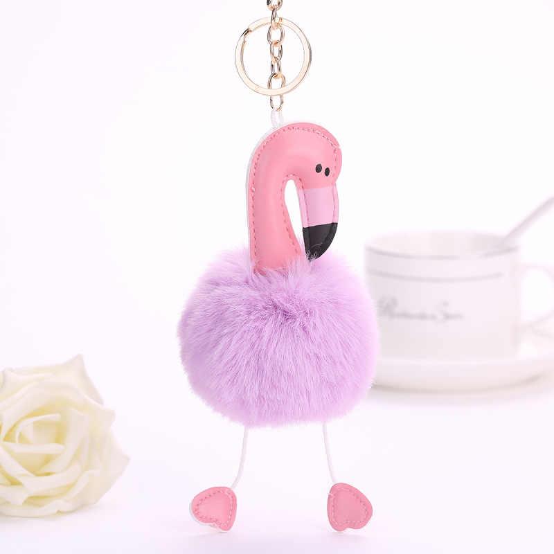 Handmade Dễ Thương Súng Đại Bác Tự Phụ Nữ Túi Màu Hồng Flamingo Keychain Bunny Lông Keychain Quyến Rũ Túi Xách Mặt Dây Chuyền Phụ Kiện Cửa Hàng Quà Tặng