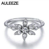 Unique EDI Floral Diamond Ring Natural Real Diamond 18K White Gold Engagement Wedding Rings For Women