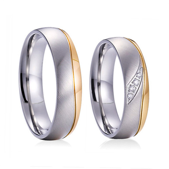 Unique bridal Alliances Wedding Band titanium steel jewelry Ring for men Anniversary Couple Engagement women Rings