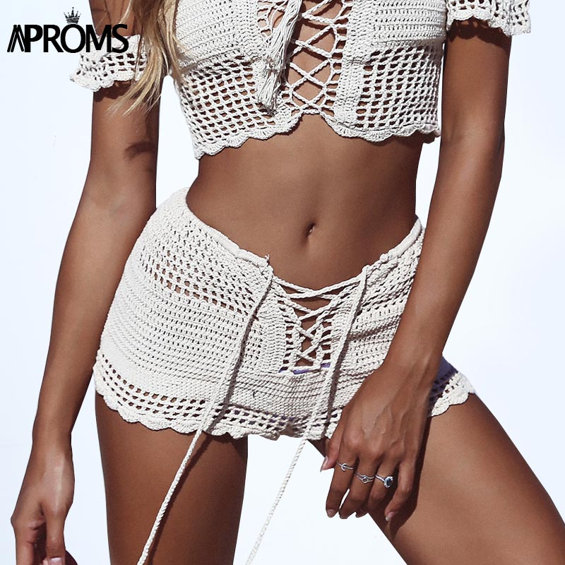 Aproms Summer Lace Up Mid Elastic Waist   Shorts   Boho 2019 White Knitted Crochet   Shorts   90s Girls Slim   Shorts   Female Bottoms