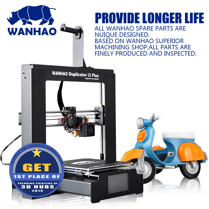 2016 upgraded WANHAO I3 PLUS, easy assemble, with touchable LCD screen, offer testing filaments & 4 SG SD card as gift  фото
