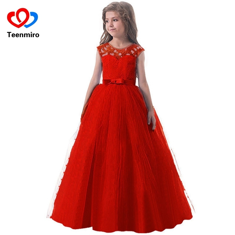 Kids Dress for Girls Princess Wedding Party Tulle Lace Long Girl Dresses Elegant Pageant Formal Gowns Children Teens Clothing цена