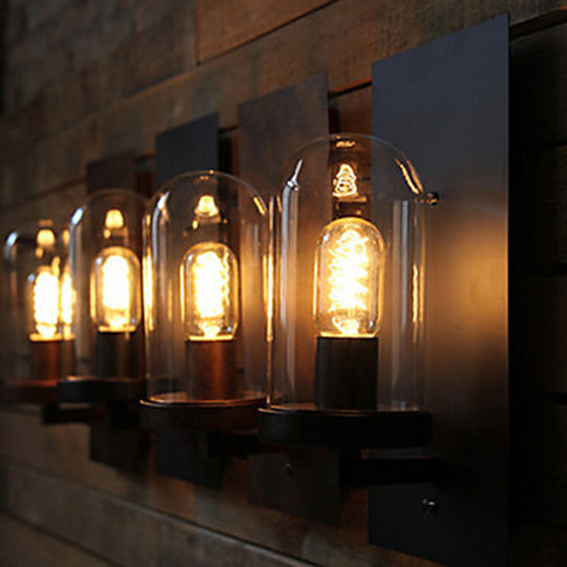 Retro Loft Style Industrial Vintage Wall Light Antique Iron Edison Wall Lamp with glass lampshade E27 bulbs free shipping smart shower faucet bathroom thermostatic faucet chrome finish mixer tap wall thermostatic mixer valve tap zr960