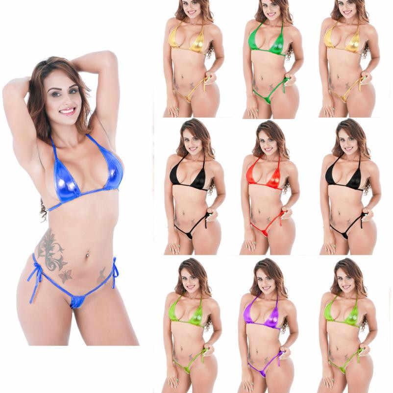 10 couleurs deux styles maillot de bain femme 2018 Sexy femmes accrocheur brillant Bikini Micro haut à licou + G-String ensemble maillot de bain 15