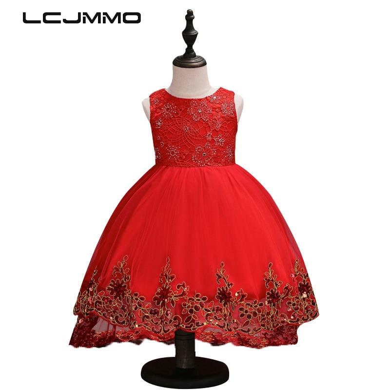 LCJMMO Flower Girl Dress Red Mesh Trailing Butterfly Girls Bridesmaid - Barnkläder