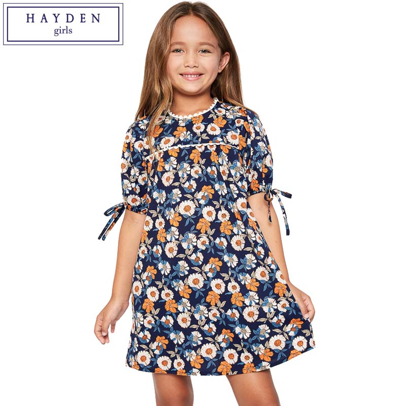 HAYDEN Teen Girls Lantern Sleeve Crew Neck Knee Length Floral Print Dress 2017 Summer Kids Designer Clothes Teenager Fashion tassel tie neck trumpet sleeve tiered floral dress