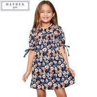 HAYDEN Teen Girls Lantern Sleeve Crew Neck Knee Length Floral Print Dress 2017 Summer Kids Designer Clothes Teenager Fashion