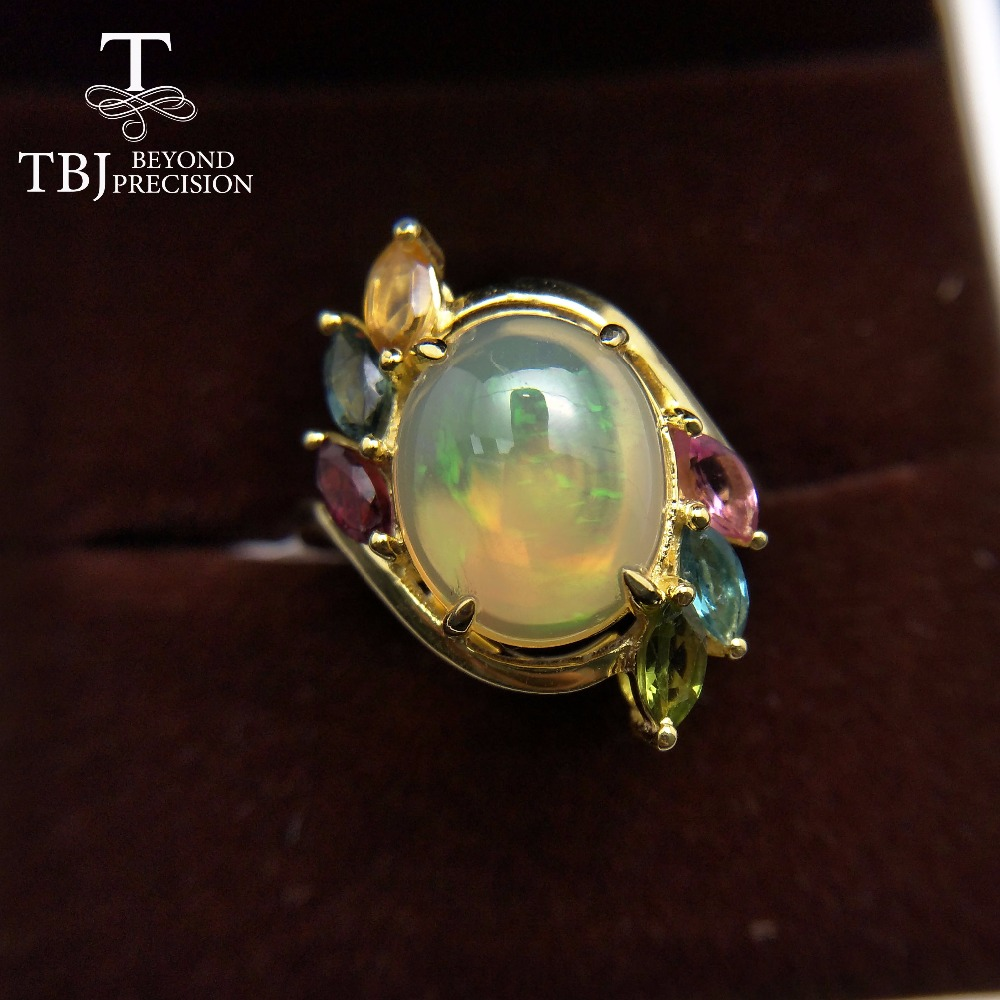 TBJ Natural Ethiopian Colorful Opal oval 10 12mm with tourmaline gemstone Ring in 925 sterling silver