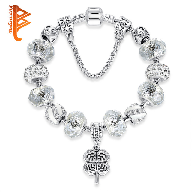 BELAWANG Original 925 Silver Lucky Clover Charm Bracelets with Clear Murano Glass Beads Bracelet for Women Girls Jewelry Gift