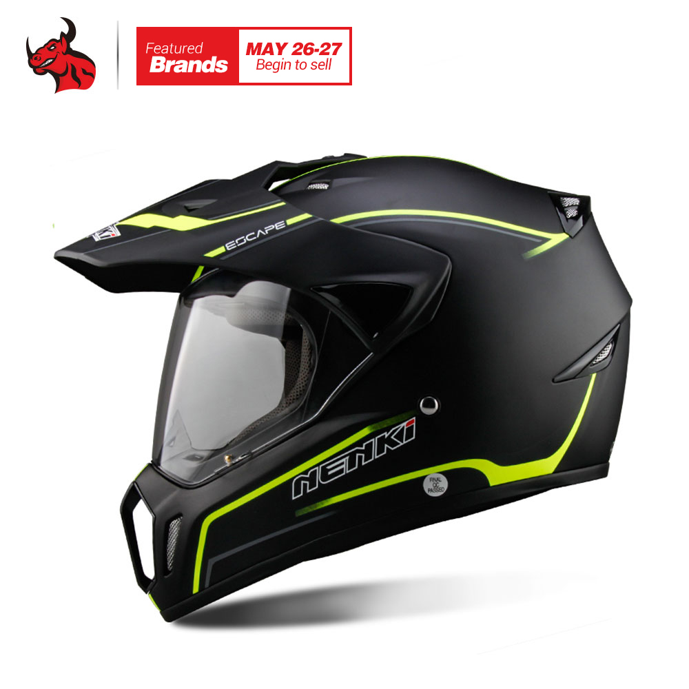 NENKI Full Face Motorcycle Helmet Motocross Helmet ATV Moto Helmet Cross Downhill Off-road Motorcycle Helmet DOT 5Color masei mens womens war machine gray ironman iron man helmet motorcycle helmet half helmet open face helmet abs casque motocross