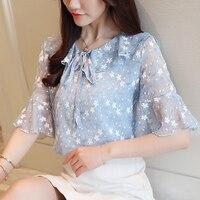Fashion Woman Blouses 2019 Ruffled Floral Chiffon Women's Shirt Short Sleeve Top Summer Women Shirts Blusa