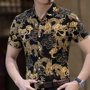 Image 3 - Гавайская Повседневная рубашка из 80% шелка, мужская пляжная летняя одежда с короткими рукавами и принтом с обеих сторон, с китайским драконом и цветком нации 2020