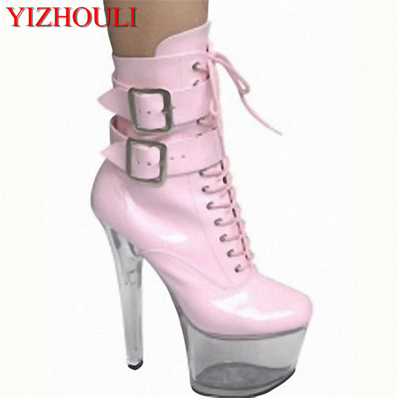 Hot Sale 4 colours sexy 15cm high heel shoes,womens ankle boots,platform pumps shoes,fashion buckle PU leather boots for women