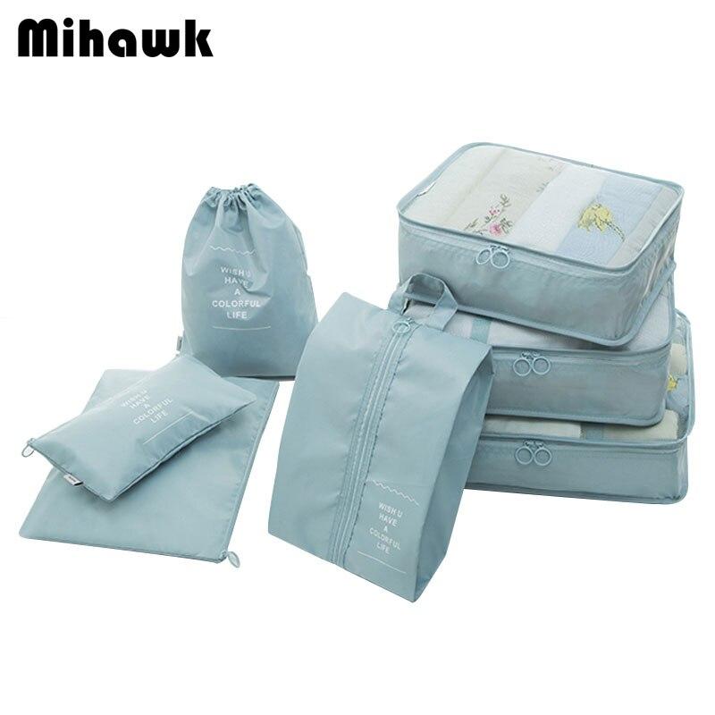 Mihawk 7 pcs/ensemble Voyage Sacs Vêtements Sous-Vêtements Chaussures Emballage Organisateur Cube Portable Articles De Toilette Pochette de Rangement Accessoires Produits