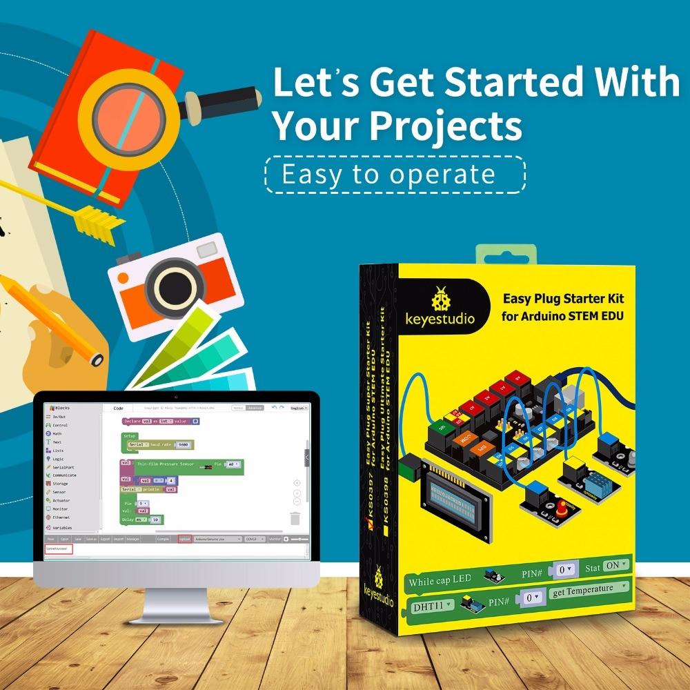 2019 NEW Keyestudio EASY PLUG RJ11 Super Starter Learning Kit For Arduino STEM EDU Compatible With