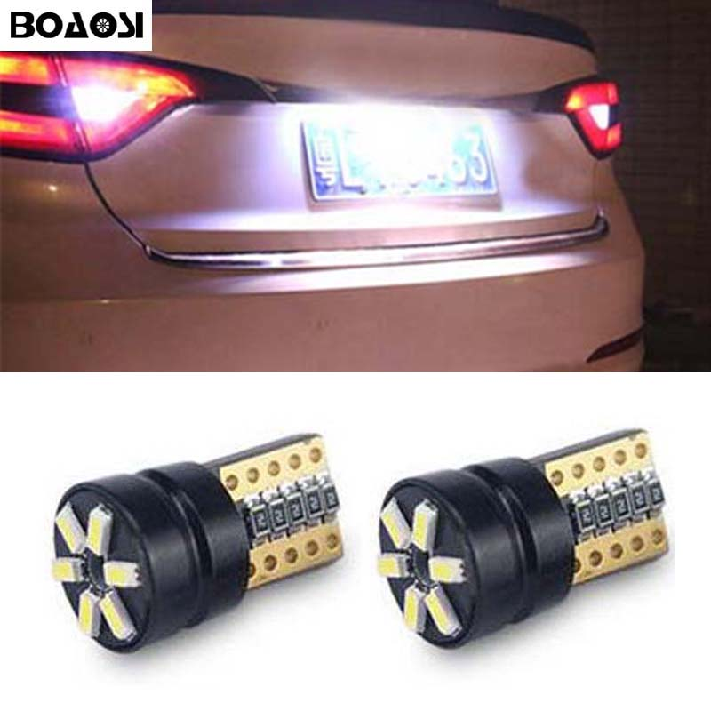BOAOSI 2x bright LED T10 3014smd Canbus no error License Plate <font><b>Light</b></font> for <font><b>Mitsubishi</b></font> asx Lancer <font><b>Outlander</b></font> Galant Pajero image