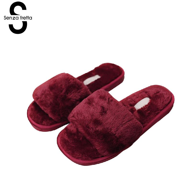 Senza Fretta Women Shoes Home Warm Slippers Autumn Winter Soft Warm Slippers Non-slip Home Loves Slippers Solid Color Plus Size women floral home slippers cartoon flower home shoes non slip soft hemp slippers indoor bedroom loves couple floor shoes