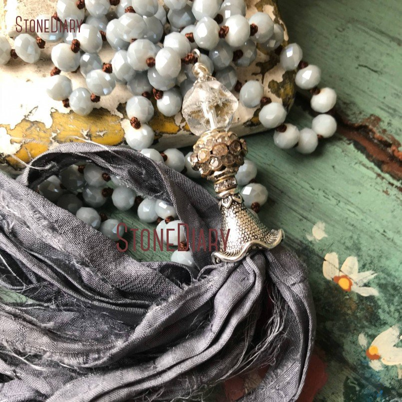 Romantic Shabby Boho Chic Grey Silver Sari Silk Tassel Necklace Versatile Accessory Fun Jewelry 32inch NM15447 цена
