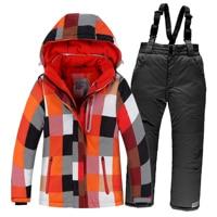 OLEKID Winter Children Ski Suit Windproof Warm Girls Clothing Set Jacket + Overalls Boys Clothes Set 3 16 Years Kids Snow Suits