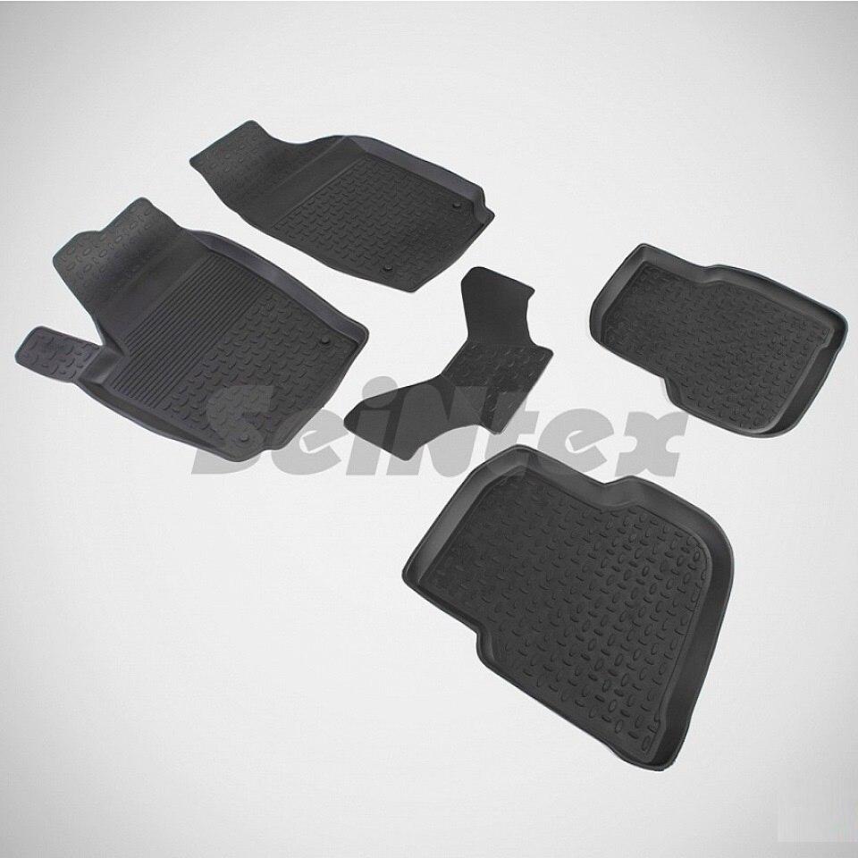 For Volkswagen Polo SEDAN 2010-2019 rubber floor mats into saloon 5 pcs/set Seintex 82371 rubber floor mats for volkswagen amarok 2010 2018 seintex 83775