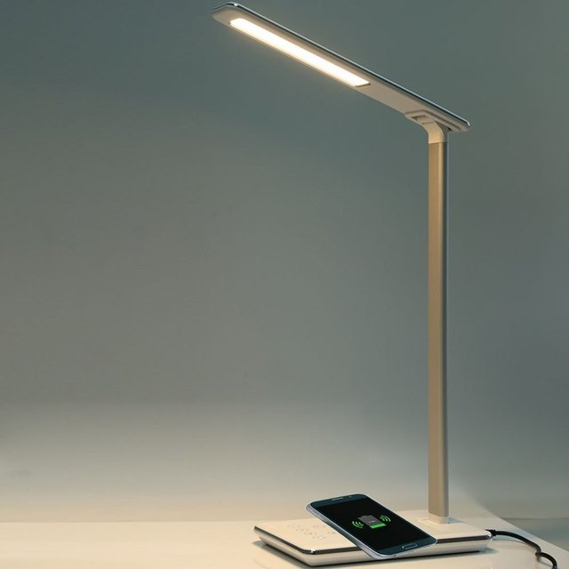 ON SALE! LED Desk Lamp Table Lamp Folding 4 Light Color Temperature Office Light Wireless Desktop Charger USB Output Bottom Foam