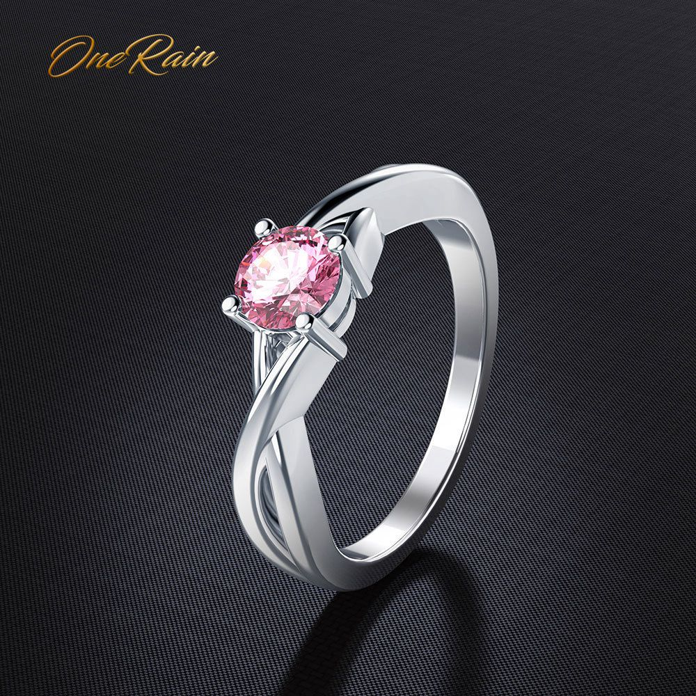 OneRain 100% 925 Sterling Silver Natural Pink Quartz Gemstone Wedding Engagement Cocktaill Simple Ring Jewelry Wholesale