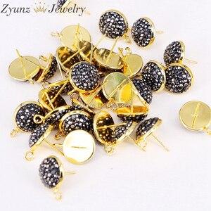 Image 5 - 20 pares ZYZ299 3823 pendientes de forma redonda de 14mm tachuelas, accesorios de pendientes de diamantes de imitación pavimentados, para hacer hallazgos de joyería