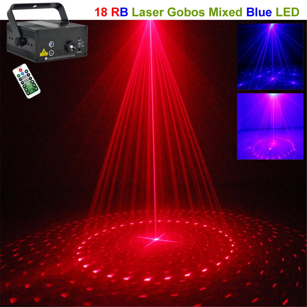 Protable 18 Gobos Red Blue Laser Projector Lights 3W Blove LED Cross Mixing Effect DJ Party Home Beams Show Stage Lighting 18RBProtable 18 Gobos Red Blue Laser Projector Lights 3W Blove LED Cross Mixing Effect DJ Party Home Beams Show Stage Lighting 18RB