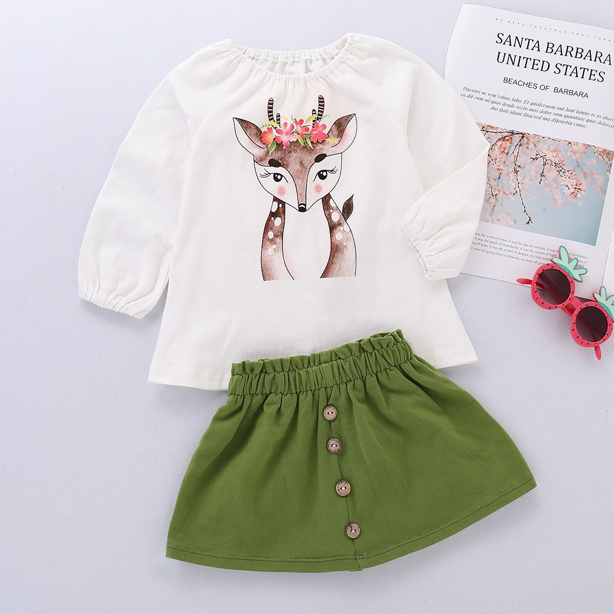 Toddler Baby Girls Deer Cartoon Stylish and fashion design Print Long Sleeve Tops+Skirt Outfit Set 2018 autumn and winter stylish flocking print long sleeve hoodie for women