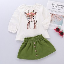 Toddler Baby Girls Deer Cartoon Stylish and fashion  design  Print Long Sleeve Tops+Skirt Outfit Set 2019 autumn and winter