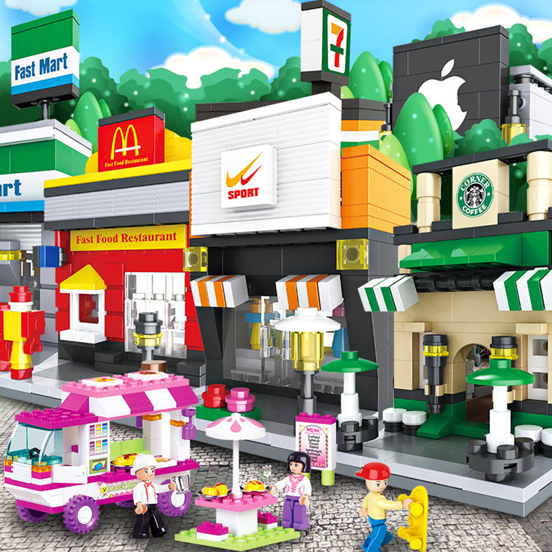 HSANHE Mini Street Series Convenience Store Fast Food Restaurants Coffee Sports Shop Model Building Blocks Kids Toys ...