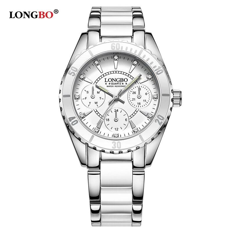 Casual 2017 New Women Luxury Stainless Steel and Ceramic Bracelet Quartz Watch LONGBO Fashion Watch Ladies