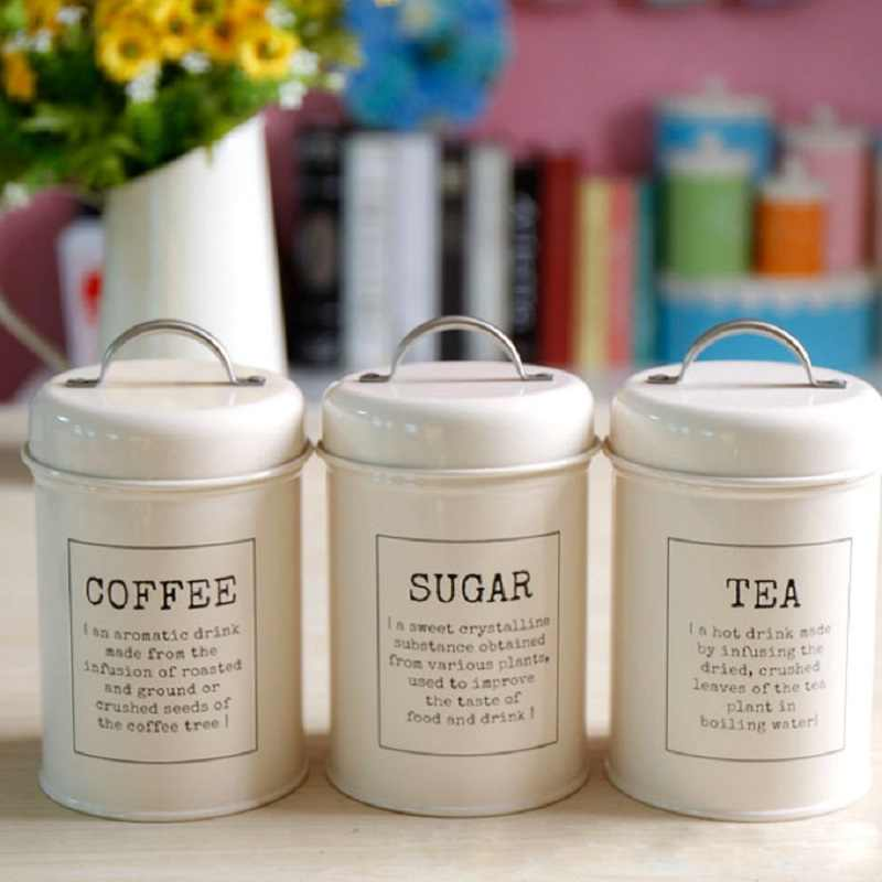 1/3Pcs/Set Storage Tank Cover Steel Kitchen Utensils Multifunction Tea Coffee Sugar Square Box Case Household Quality Beautiful