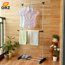 ORZ Foldable Clothes Hanger Metal Duty Storage Rack Adjustable Laundry Drying Holder Shoes Garment Clothes Organizer