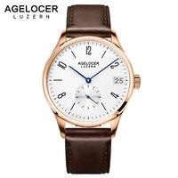 AGELCOER Swizerland Люцерн под старину золотые часы наручные часы с инкрустированным браслетом Для мужчин лучший бренд класса люкс Дата Мужской час