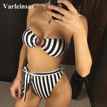 Striped Bandeau High Waist Bikini 2019 Female Swimsuit Women Swimwear Two-pieces Bikini set Bather Bathing Suit Swim Wear V1167