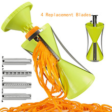 4 Replacement Blades Vegetable Fruit Spiral Shred Cutter Slicer Peeler Slicer Spiralizer Radish Cucumber Vegetable Spiralizer hot sale 3 in 1 spiral vegetable choppers slicer spiralizer fruit veggie cutter twister peeler kitchen accessories