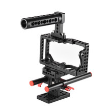 Andoer Video Camera Cage Stabilizer + Top Handle/ Base/ Rods for BMPCC Camera to Mount Follow Focus/Monitor/ Tripod/LED Light(China)
