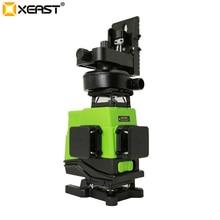 Xeast 3/4D 高精度グリーンビーム 12/16 ラインレーザーレベル自動セルフレベリング 360 垂直 & 水平スティック壁ツール