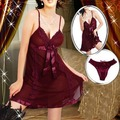 Shipping Within One Day Hot Sales Plus Size Dark Red Sexy Lingerie Babydoll Dress Sleepwear Chemise S-6XL
