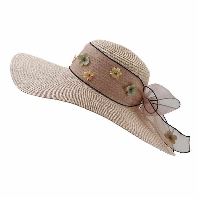 New Female Sunscreen Visor Straw Hat Seaside Holiday Travel Wide Brim Beach Sun Hat pamelas de playa Hat Woman Summer Sun