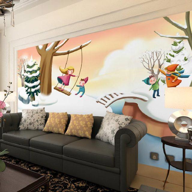 14 78 46 De Reduction Chambre D Enfants Papier Peint Chambre D Enfants Chambre Peinture Murale Dessin Anime Neige Paysage Photo Papier Peint Mural