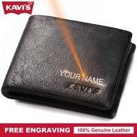 KAVIS Genuine Leather Small Wallet Men Mini Coin Purse Male Cuzdan Portomonee Gift For Man PORTFOLIO