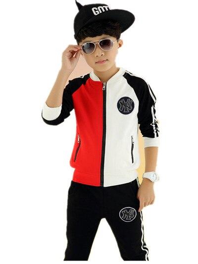 Livraison gratuite 2019 garçons et filles costume de sport à manches longues à capuche patchwork zipper enfants veste garçons vêtements